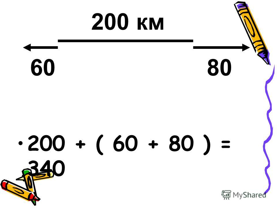 200 + ( 60 + 80 ) = 340 200 км 6080