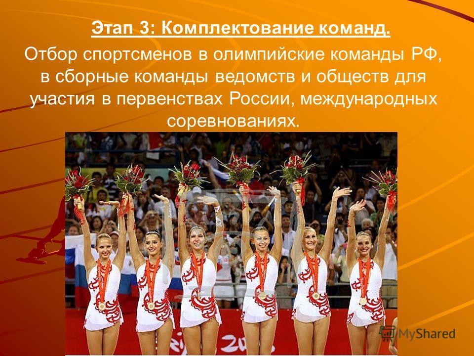 Этап 3: Комплектование команд. Отбор спортсменов в олимпийские команды РФ, в сборные команды ведомств и обществ для участия в первенствах России, международных соревнованиях.