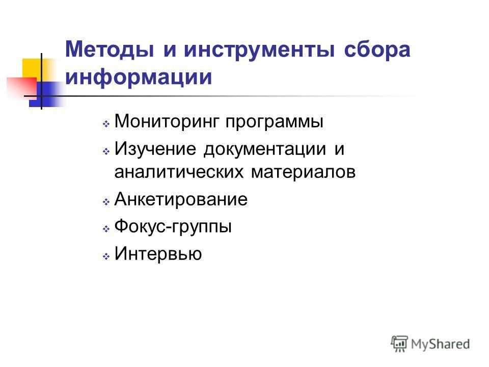 Методы и инструменты сбора информации Мониторинг программы Изучение документации и аналитических материалов Анкетирование Фокус-группы Интервью
