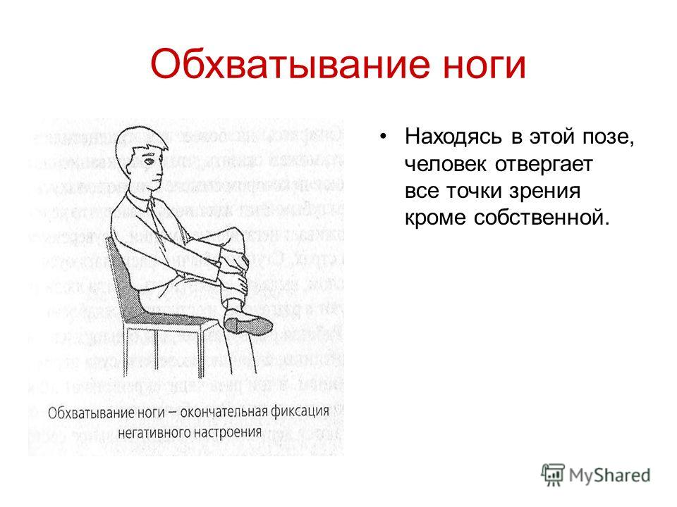 Обхватывание ноги Находясь в этой позе, человек отвергает все точки зрения кроме собственной.