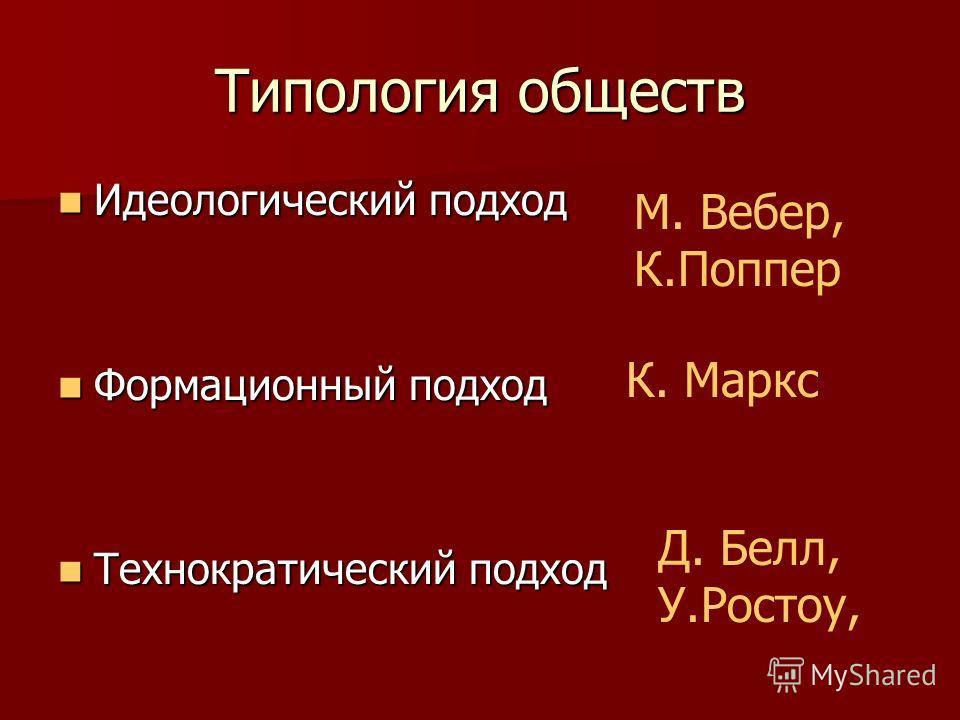Типология обществ Идеологический подход Идеологический подход Формационный подход Формационный подход Технократический подход Технократический подход М. Вебер, К.Поппер К. Маркс Д. Белл, У.Ростоу,