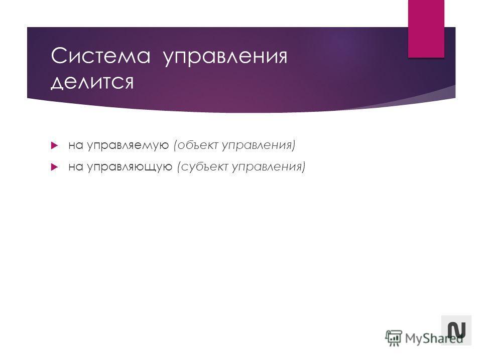 Система управления делится на управляемую (объект управления) на управляющую (субъект управления)