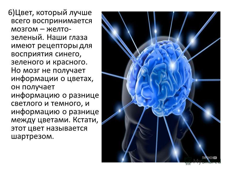 6)Цвет, который лучше всего воспринимается мозгом – желто- зеленый. Наши глаза имеют рецепторы для восприятия синего, зеленого и красного. Но мозг не получает информации о цветах, он получает информацию о разнице светлого и темного, и информацию о ра