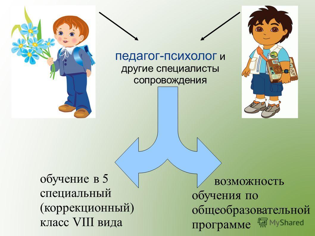 возможность обучения по общеобразовательной программе обучение в 5 специальный (коррекционный) класс VIII вида педагог-психолог и другие специалисты сопровождения