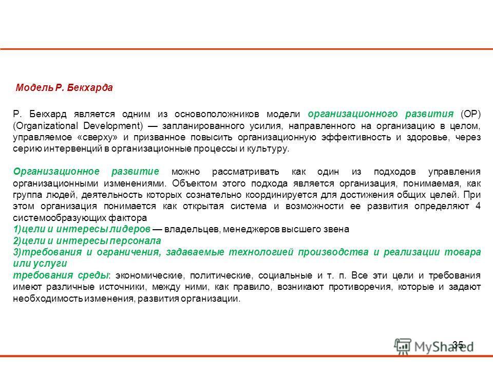 35 Модель Р. Бекхарда Р. Бекхард является одним из основоположников модели организационного развития (ОР) (Organizational Development) запланированного усилия, направленного на организацию в целом, управляемое «сверху» и призванное повысить организац