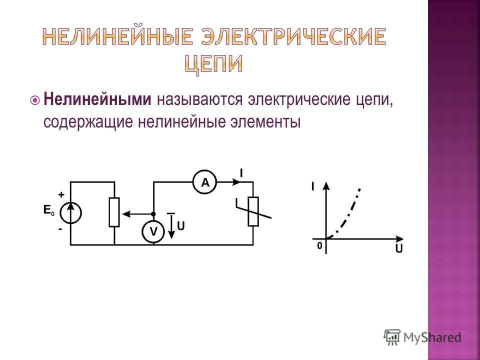 Нелинейными называются электрические цепи, содержащие нелинейные элементы