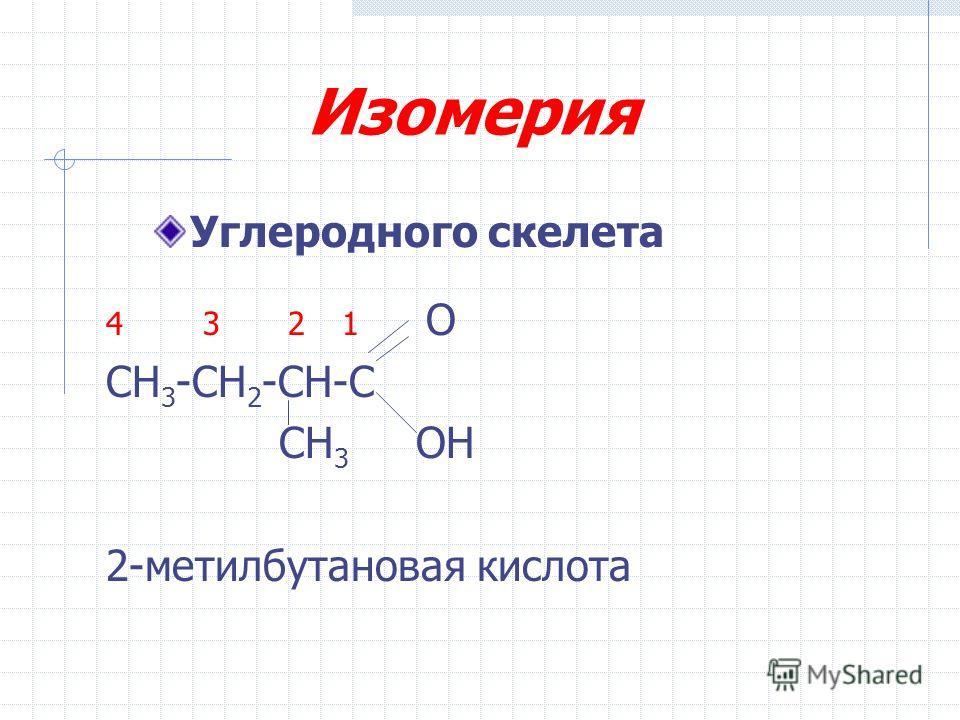 Изомерия 4 3 2 1 О СН 3 -СН 2 -СН-С СН 3 ОН 2-метилбутановая кислота Углеродного скелета