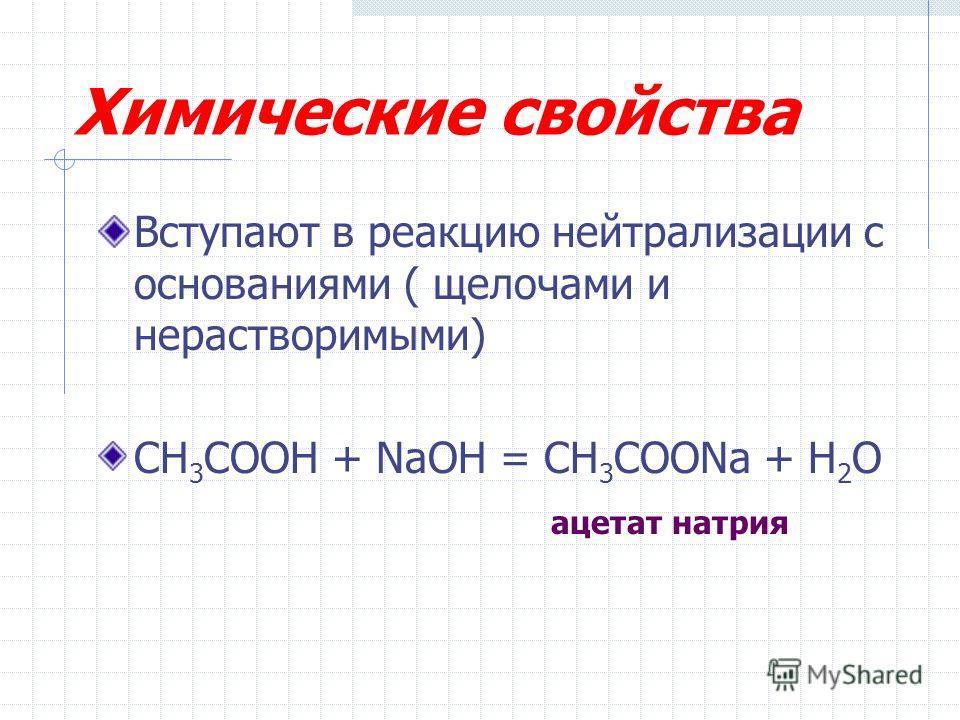 Химические свойства Вступают в реакцию нейтрализации с основаниями ( щелочами и нерастворимыми) CH 3 COOH + NaOH = CH 3 COONa + H 2 O ацетат натрия