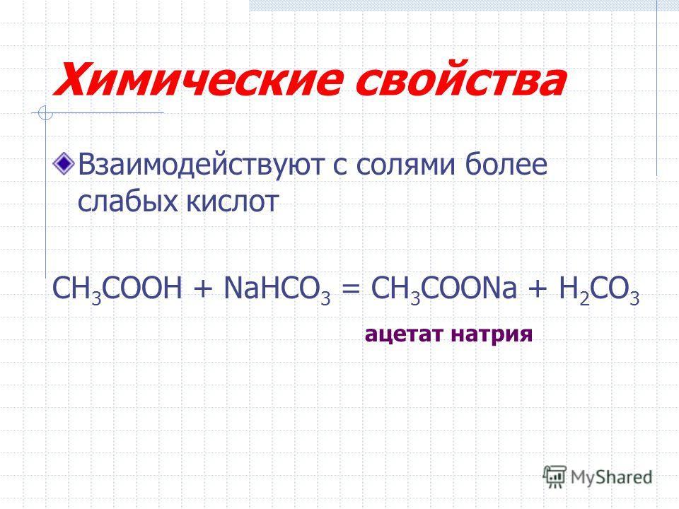 Химические свойства Взаимодействуют с солями более слабых кислот CH 3 COOH + NaHCO 3 = CH 3 COONa + H 2 CO 3 ацетат натрия