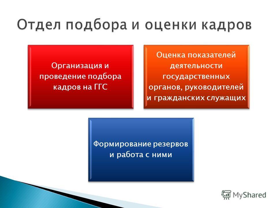 Организация и проведение подбора кадров на ГГС Оценка показателей деятельности государственных органов, руководителей и гражданских служащих Формирование резервов и работа с ними