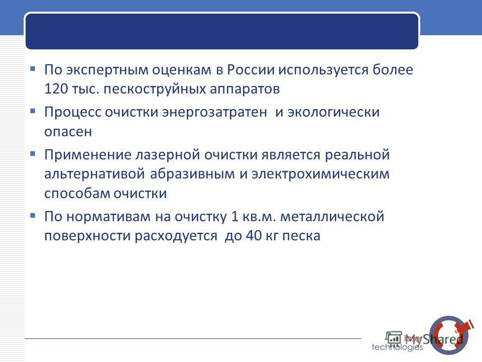 LOGO По экспертным оценкам в России используется более 120 тыс. пескоструйных аппаратов Процесс очистки энергозатратен и экологически опасен Применение лазерной очистки является реальной альтернативой абразивным и электрохимическим способам очистки П