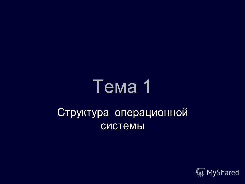 Тема 1 Структура операционной системы