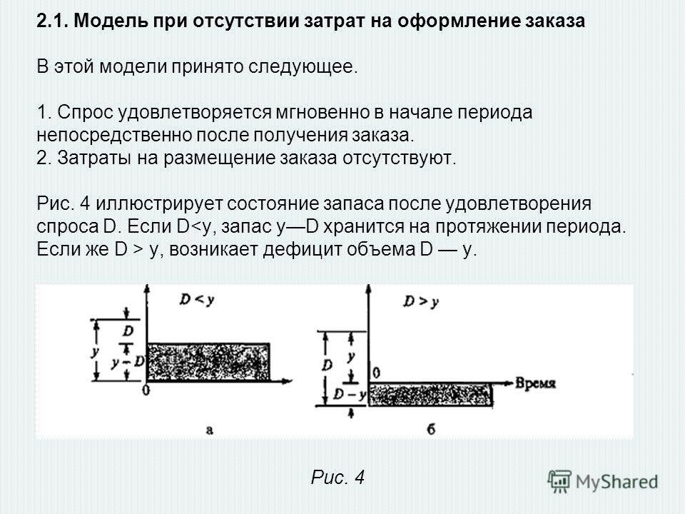 2.1. Модель при отсутствии затрат на оформление заказа В этой модели принято следующее. 1. Спрос удовлетворяется мгновенно в начале периода непосредственно после получения заказа. 2. Затраты на размещение заказа отсутствуют. Рис. 4 иллюстрирует состо