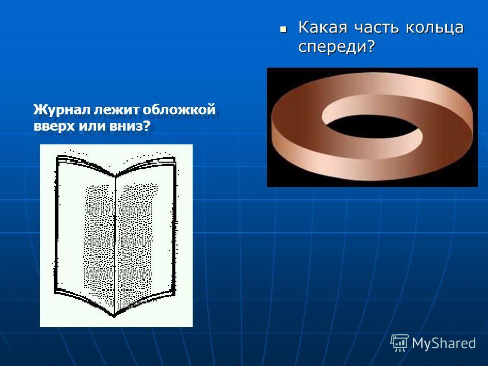 Какая часть кольца спереди? Какая часть кольца спереди? Журнал лежит обложкой вверх или вниз?