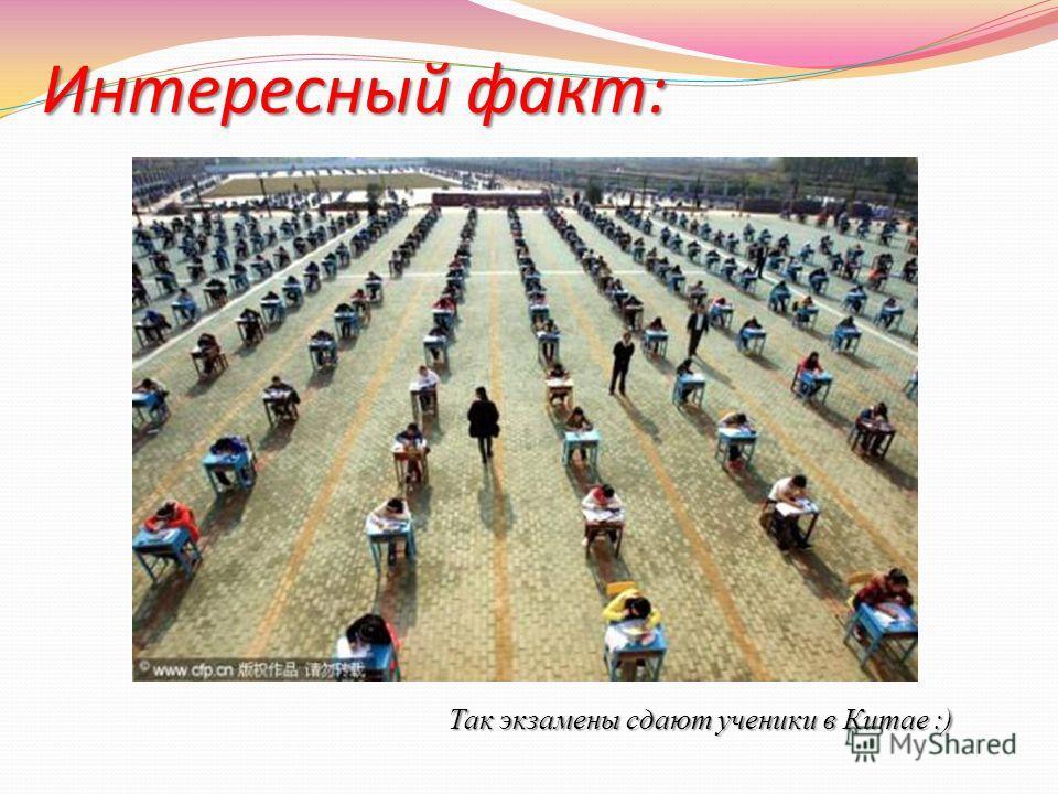 Интересный факт: Так экзамены сдают ученики в Китае :)