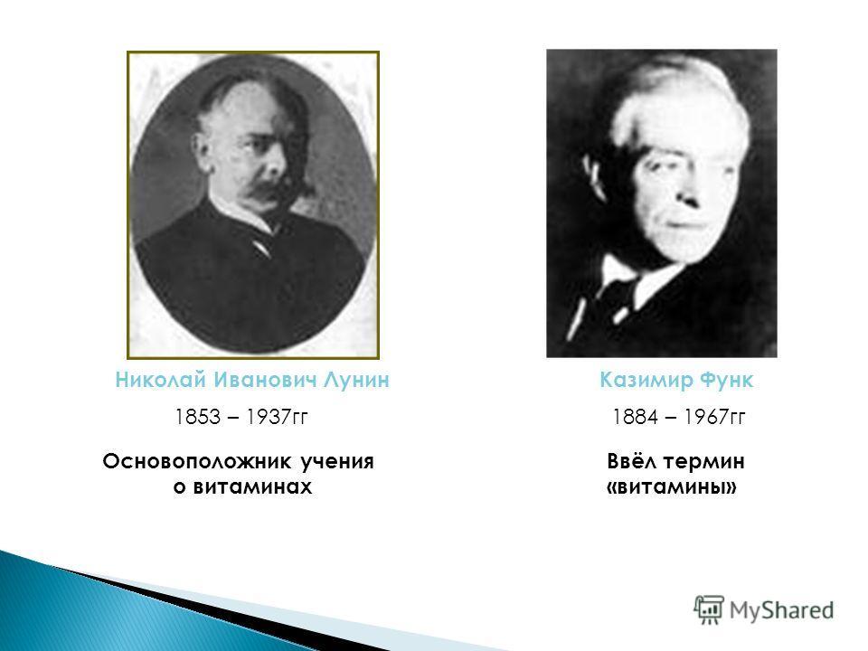 Николай Иванович ЛунинКазимир Функ 1853 – 1937гг1884 – 1967гг Основоположник учения о витаминах Ввёл термин «витамины»