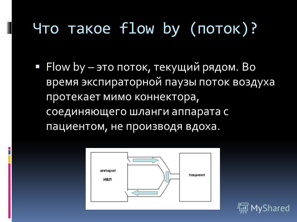 Что такое flow by (поток)? Flow by – это поток, текущий рядом. Во время экспираторной паузы поток воздуха протекает мимо коннектора, соединяющего шланги аппарата с пациентом, не производя вдоха.