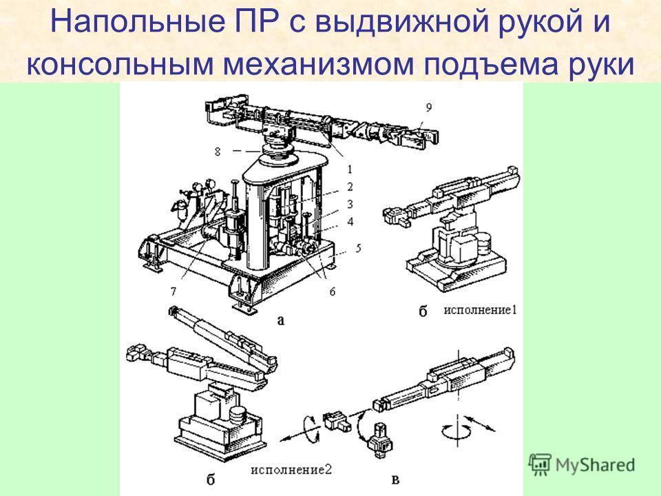 Напольные ПР с выдвижной рукой и консольным механизмом подъема руки