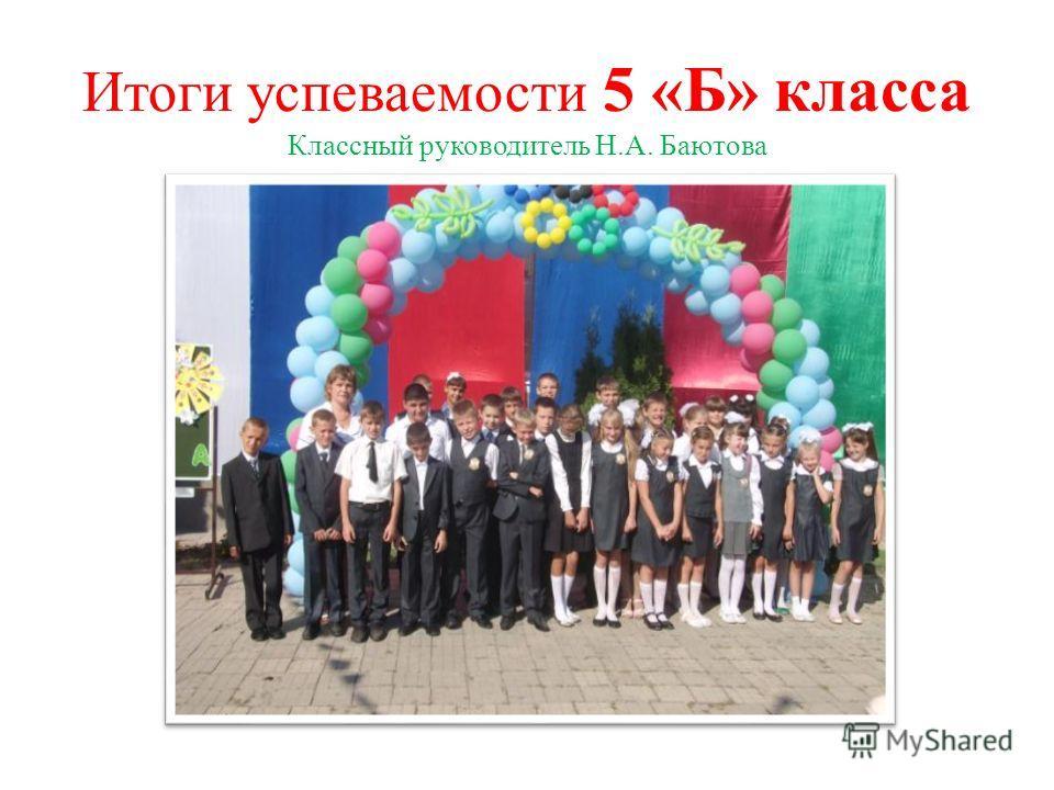 Итоги успеваемости 5 «Б» класса Классный руководитель Н.А. Баютова