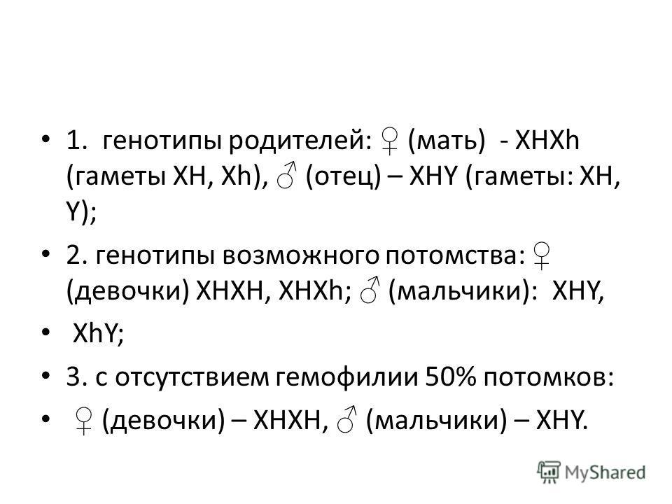 1. генотипы родителей: (мать) - ХНХh (гаметы XН, Xh), (отец) – ХНY (гаметы: ХН, Y); 2. генотипы возможного потомства: (девочки) ХНХН, ХНХh; (мальчики): XHY, XhY; 3. с отсутствием гемофилии 50% потомков: (девочки) – ХНХН, (мальчики) – XHY.