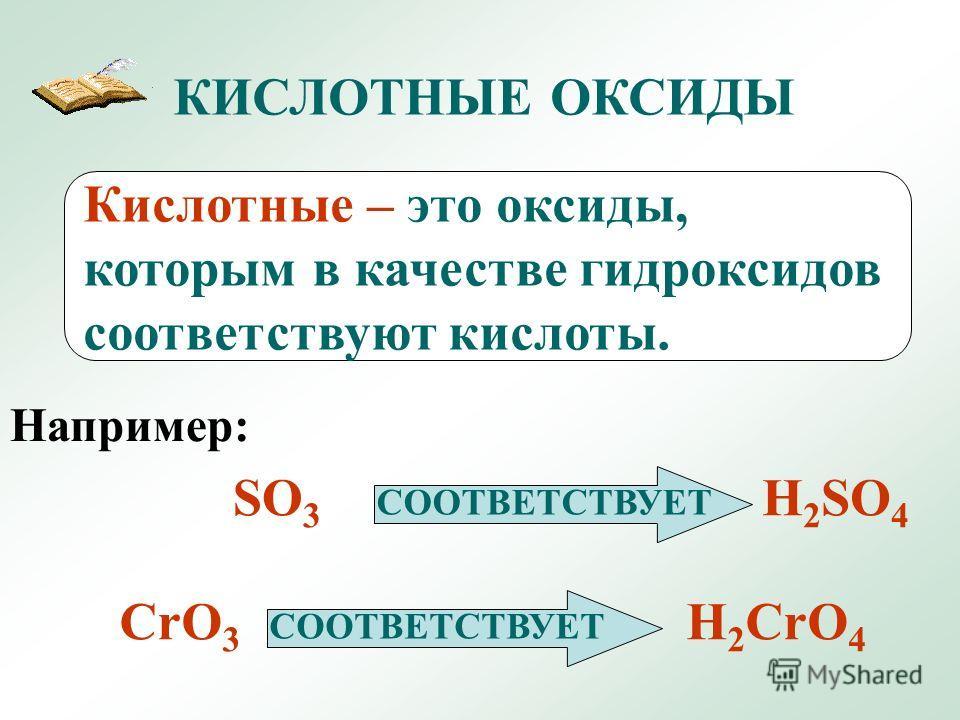 КИСЛОТНЫЕ ОКСИДЫ Кислотные – это оксиды, которым в качестве гидроксидов соответствуют кислоты. Например: SO 3 СООТВЕТСТВУЕТ H 2 SO 4 CrO 3 СООТВЕТСТВУЕТ H 2 CrO 4