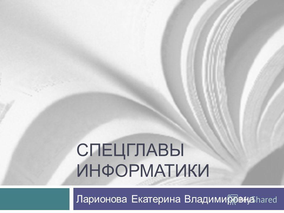 СПЕЦГЛАВЫ ИНФОРМАТИКИ Ларионова Екатерина Владимировна