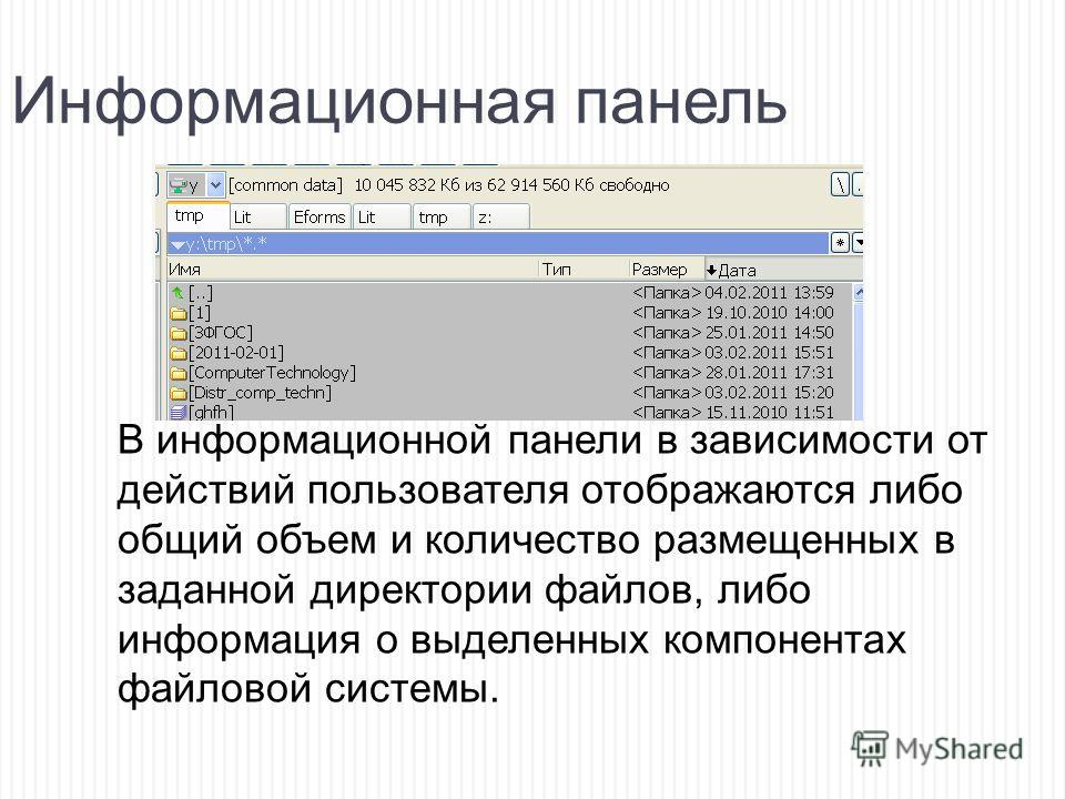 Информационная панель В информационной панели в зависимости от действий пользователя отображаются либо общий объем и количество размещенных в заданной директории файлов, либо информация о выделенных компонентах файловой системы.