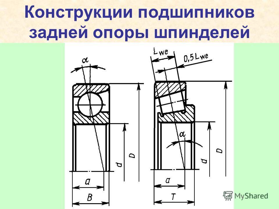 Конструкции подшипников задней опоры шпинделей