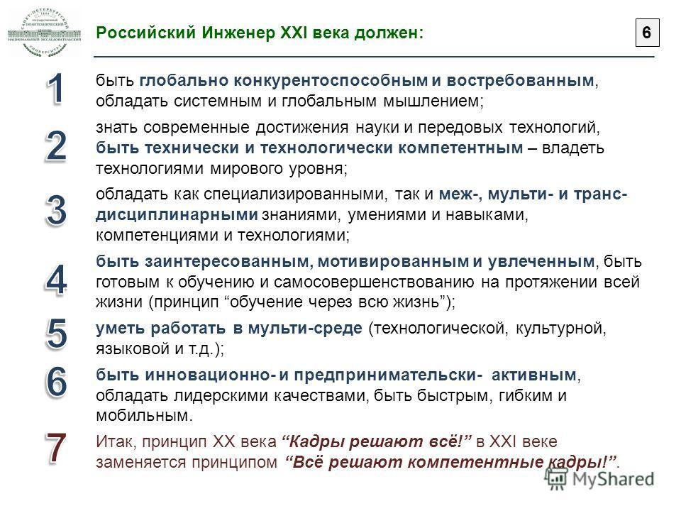 Российский Инженер XXI века должен: быть глобально конкурентоспособным и востребованным, обладать системным и глобальным мышлением; знать современные достижения науки и передовых технологий, быть технически и технологически компетентным – владеть тех