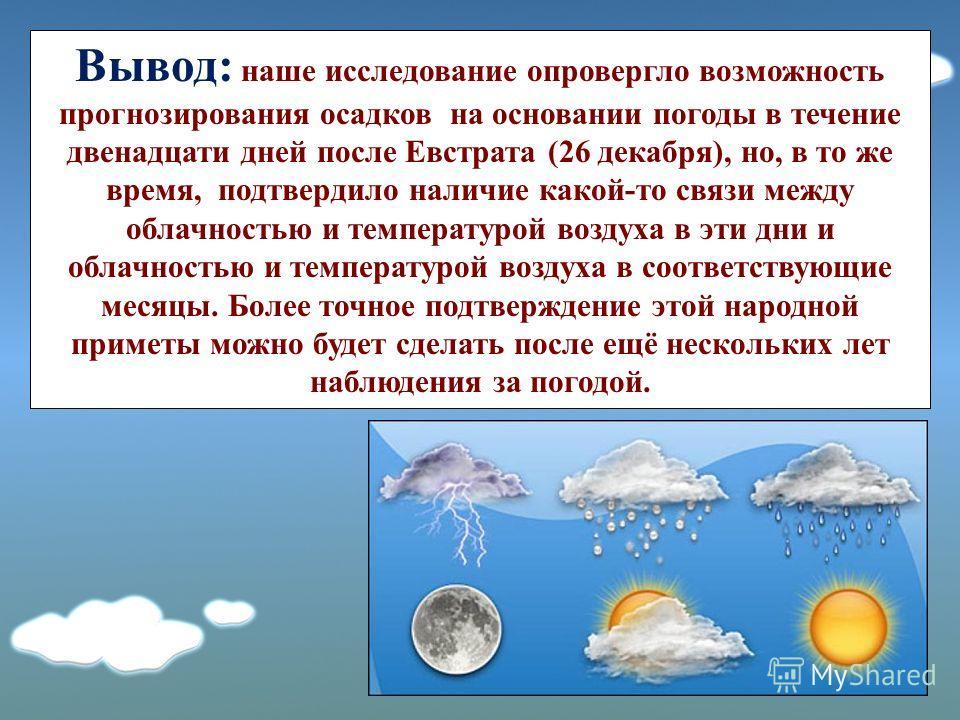 Вывод: наше исследование опровергло возможность прогнозирования осадков на основании погоды в течение двенадцати дней после Евстрата (26 декабря), но, в то же время, подтвердило наличие какой-то связи между облачностью и температурой воздуха в эти дн