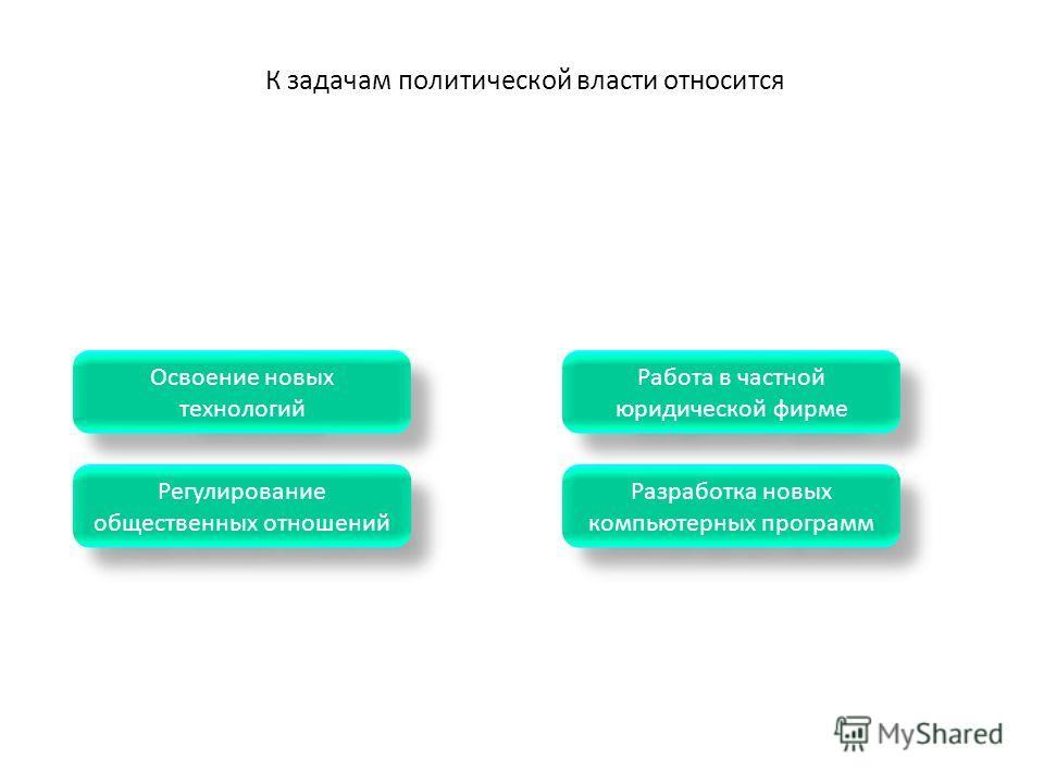 К задачам политической власти относится Разработка новых компьютерных программ Разработка новых компьютерных программ Регулирование общественных отношений Регулирование общественных отношений Освоение новых технологий Освоение новых технологий Работа