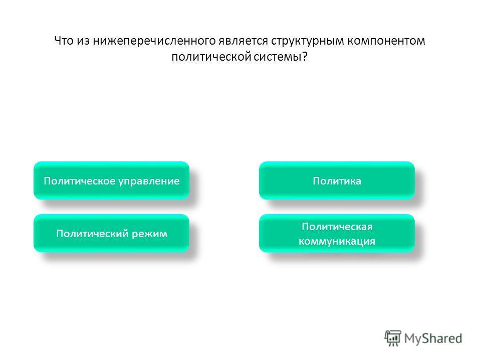 Политическая коммуникация Политическая коммуникация Политический режим Политика Политическое управление Что из нижеперечисленного является структурным компонентом политической системы?