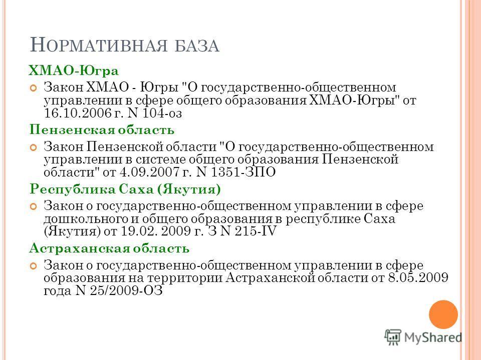 ХМАО-Югра Закон ХМАО - Югры