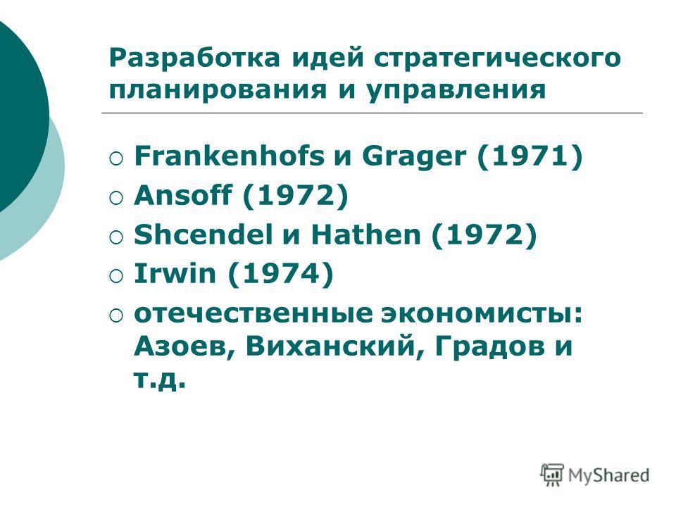 Разработка идей стратегического планирования и управления Frankenhofs и Grager (1971) Ansoff (1972) Shcendel и Hathen (1972) Irwin (1974) отечественные экономисты: Азоев, Виханский, Градов и т.д.