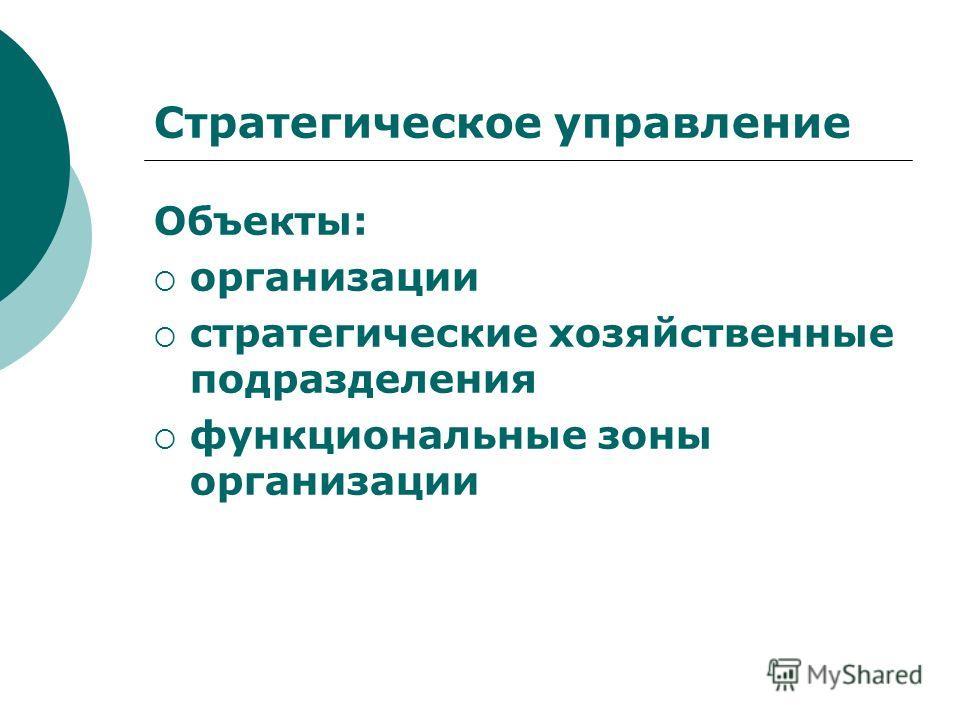 Стратегическое управление Объекты: организации стратегические хозяйственные подразделения функциональные зоны организации