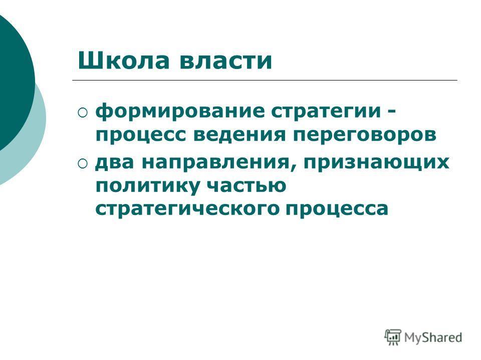 Школа власти формирование стратегии - процесс ведения переговоров два направления, признающих политику частью стратегического процесса