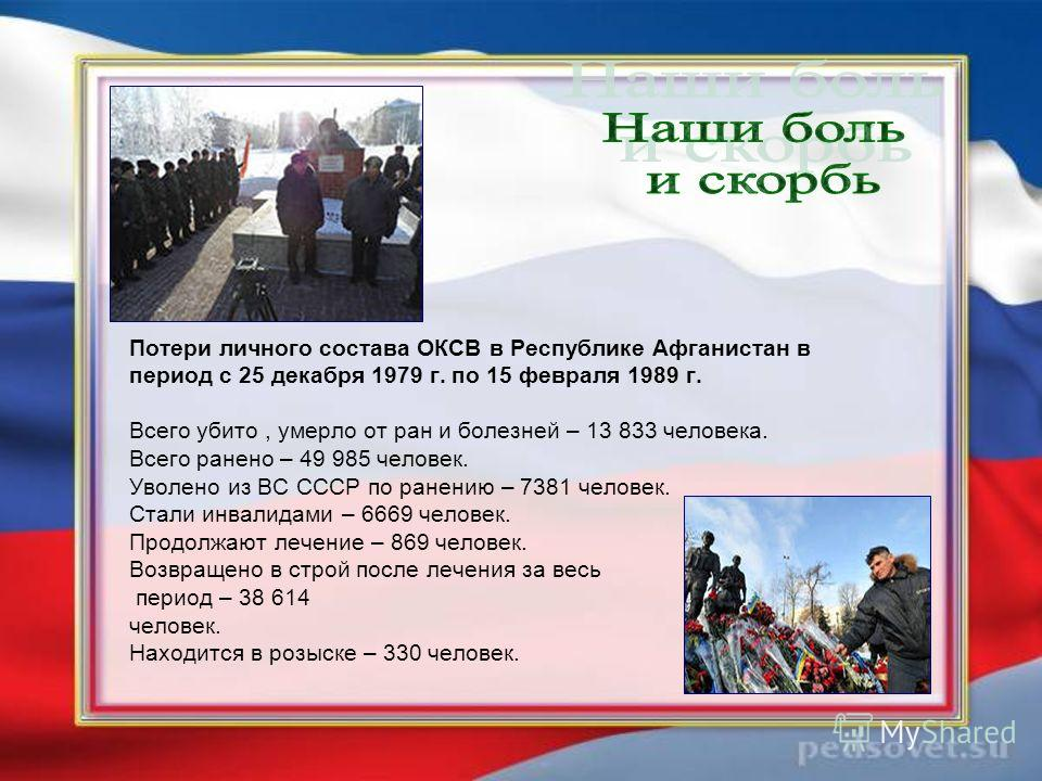 Потери личного состава ОКСВ в Республике Афганистан в период с 25 декабря 1979 г. по 15 февраля 1989 г. Всего убито, умерло от ран и болезней – 13 833 человека. Всего ранено – 49 985 человек. Уволено из ВС СССР по ранению – 7381 человек. Стали инвали