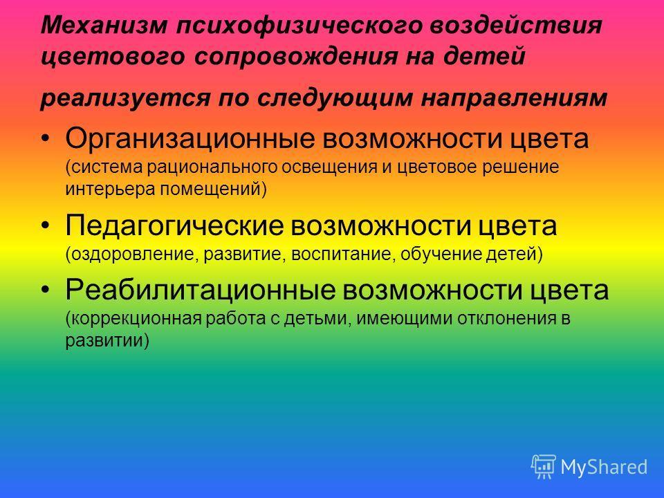 Механизм психофизического воздействия цветового сопровождения на детей реализуется по следующим направлениям Организационные возможности цвета (система рационального освещения и цветовое решение интерьера помещений) Педагогические возможности цвета (