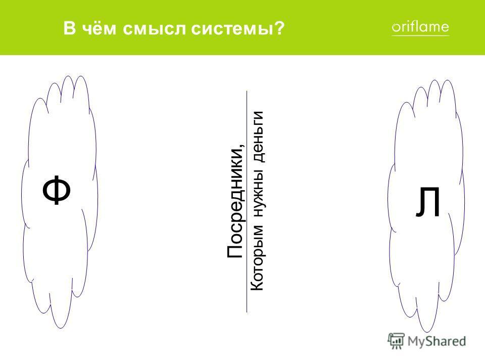 Ф Л Посредники, Которым нужны деньги В чём смысл системы?