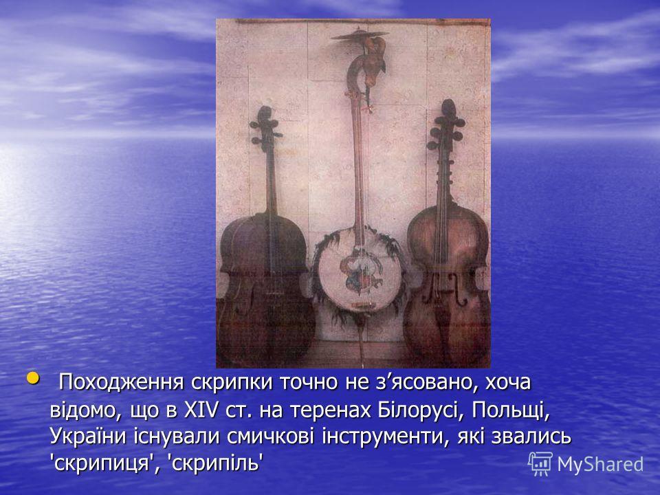 Походження скрипки точно не зясовано, хоча відомо, що в XIV ст. на теренах Білорусі, Польщі, України існували смичкові інструменти, які звались 'скрипиця', 'скрипіль' Походження скрипки точно не зясовано, хоча відомо, що в XIV ст. на теренах Білорусі