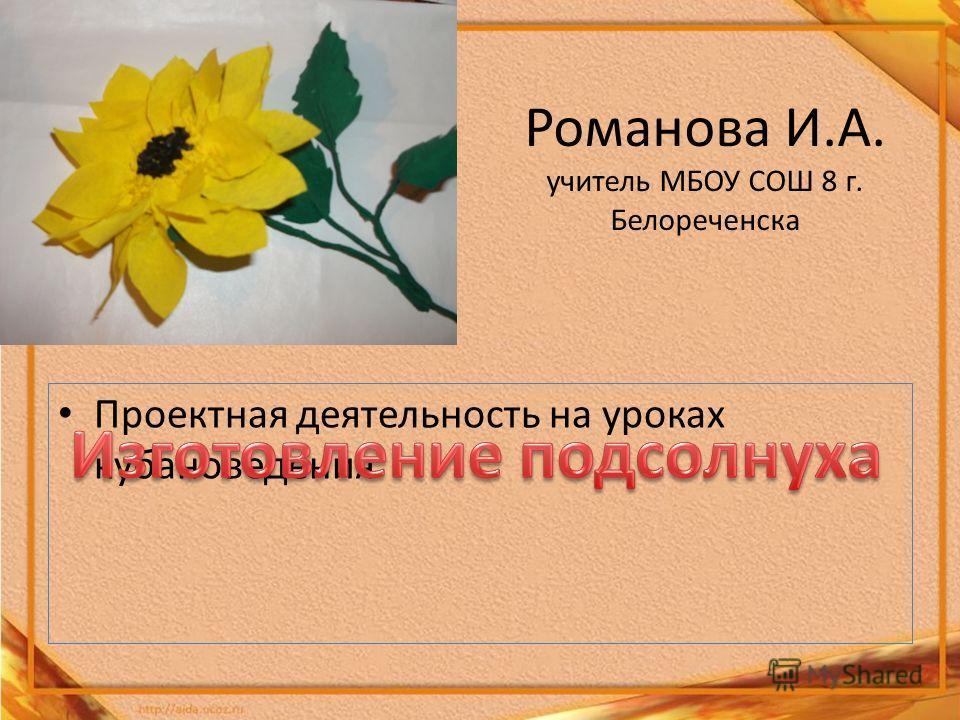 Романова И.А. учитель МБОУ СОШ 8 г. Белореченска Проектная деятельность на уроках кубановедения