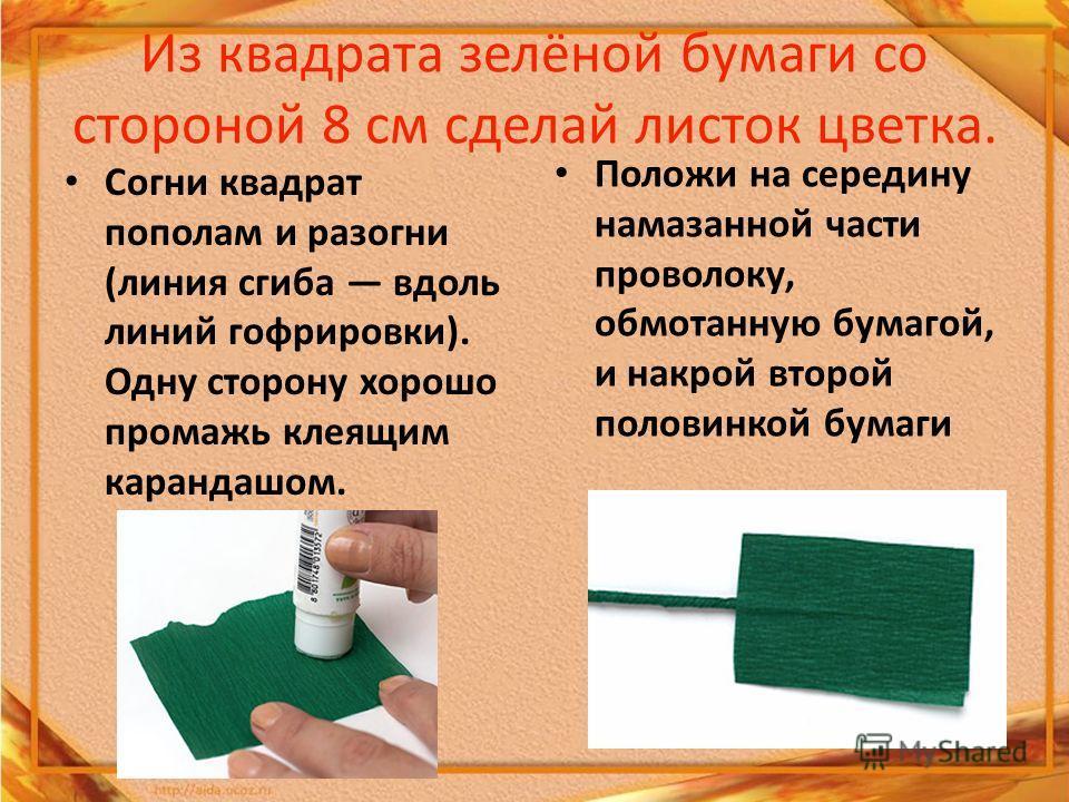 Из квадрата зелёной бумаги со стороной 8 см сделай листок цветка. Согни квадрат пополам и разогни (линия сгиба вдоль линий гофрировки). Одну сторону хорошо промажь клеящим карандашом. Положи на середину намазанной части проволоку, обмотанную бумагой,