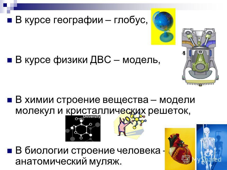 В курсе географии – глобус, В курсе физики ДВС – модель, В химии строение вещества – модели молекул и кристаллических решеток, В биологии строение человека – анатомический муляж.