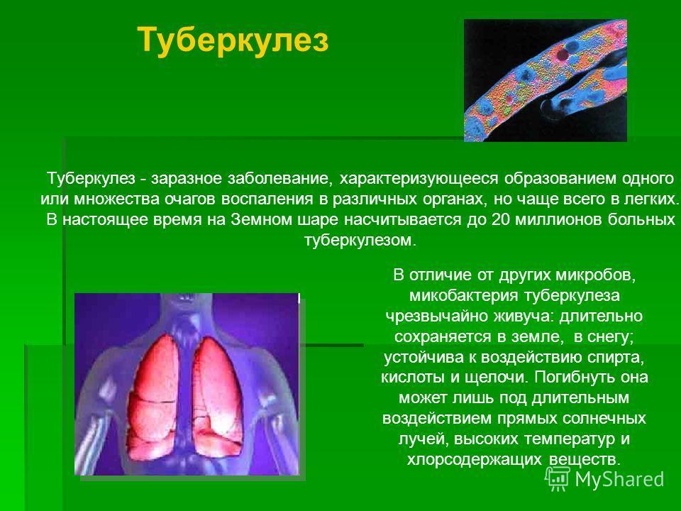 Туберкулез Туберкулез - заразное заболевание, характеризующееся образованием одного или множества очагов воспаления в различных органах, но чаще всего в легких. В настоящее время на Земном шаре насчитывается до 20 миллионов больных туберкулезом. В от