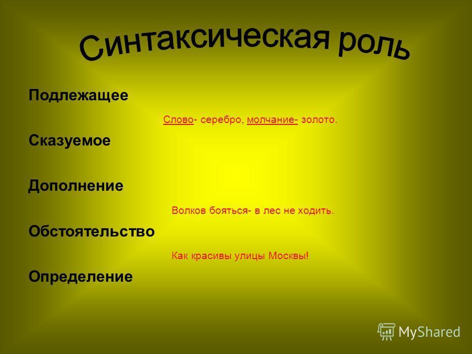 Подлежащее Слово- серебро, молчание- золото. Сказуемое Дополнение Волков бояться- в лес не ходить. Обстоятельство Как красивы улицы Москвы! Определение