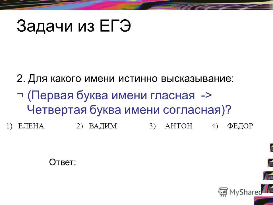 Задачи из ЕГЭ 2. Для какого имени истинно высказывание: ¬ (Первая буква имени гласная -> Четвертая буква имени согласная)? 1)ЕЛЕНА2)ВАДИМ3)АНТОН4)ФЕДОР Ответ: