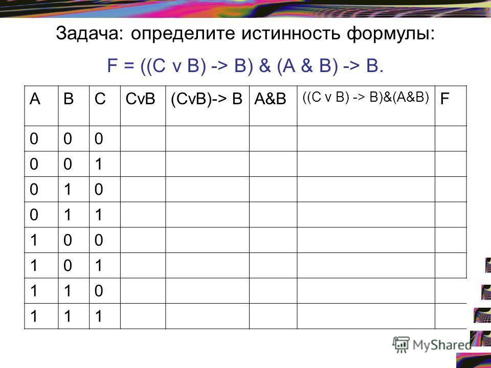 Задача: определите истинность формулы: F = ((С v В) -> В) & (А & В) -> В. АВСCvB(CvB)-> ВА&В ((С v В) -> В)&(А&В) F 000 001 010 011 100 101 110 111