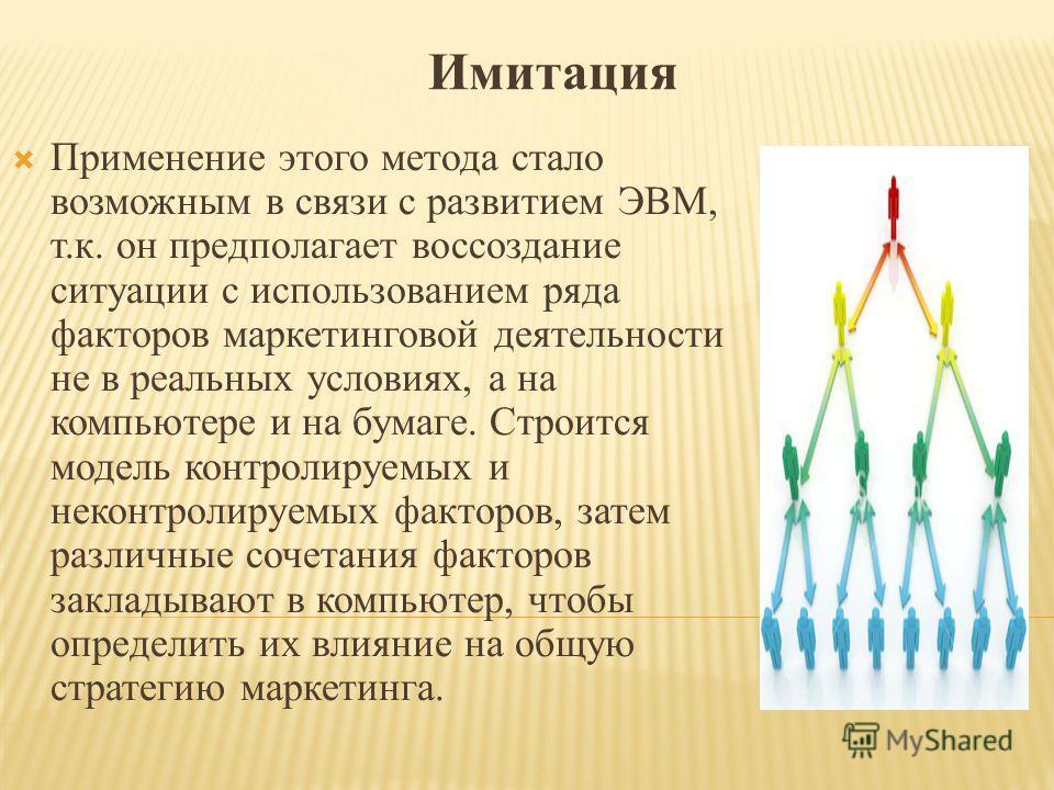 Имитация Применение этого метода стало возможным в связи с развитием ЭВМ, т.к. он предполагает воссоздание ситуации с использованием ряда факторов маркетинговой деятельности не в реальных условиях, а на компьютере и на бумаге. Строится модель контрол