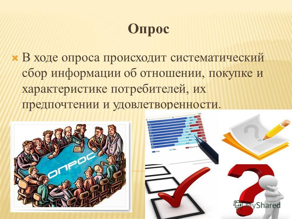 Опрос В ходе опроса происходит систематический сбор информации об отношении, покупке и характеристике потребителей, их предпочтении и удовлетворенности.