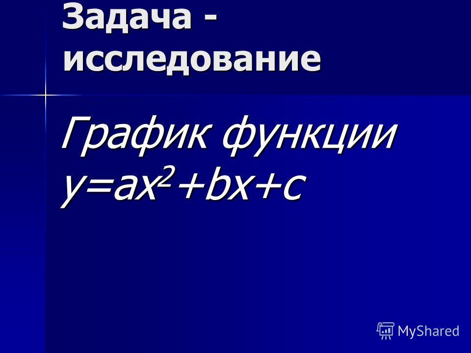 Задача - исследование График функции у=ах 2 +bx+c